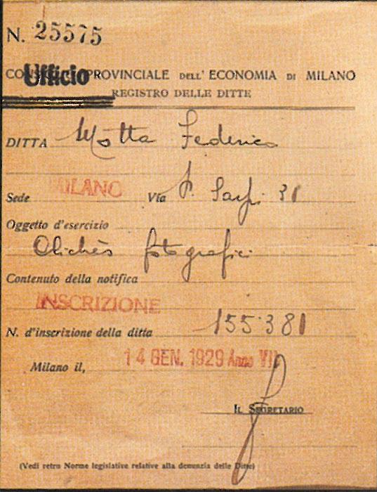 L'atto di nascita della Cliché Motta, datato 14 gennaio 1929