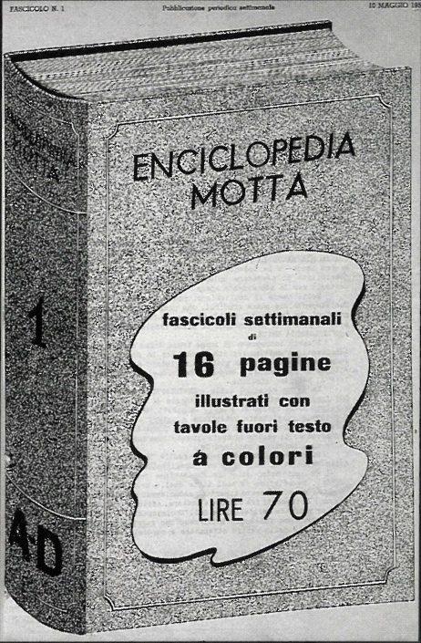 Locandina pubblicitaria della Enciclopedia Motta a fascicoli