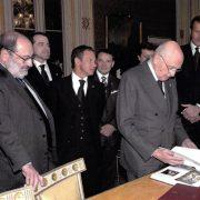 Umberto Eco al Quirinale mostra al presidente Napolitano Historia - La grande storia della civiltà europea